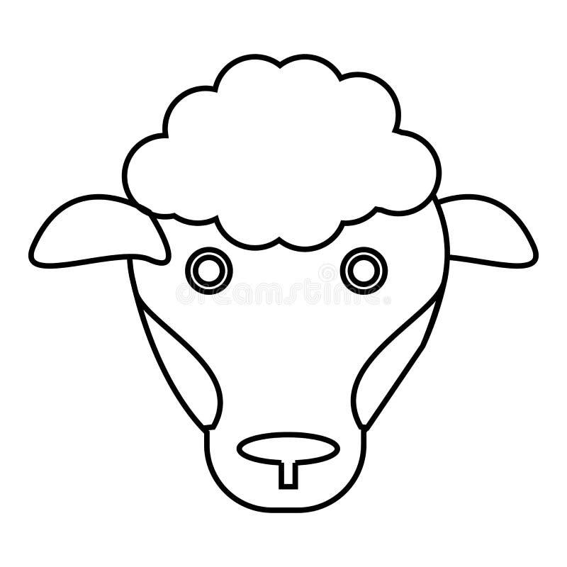 Fårsymbol, översiktsstil stock illustrationer