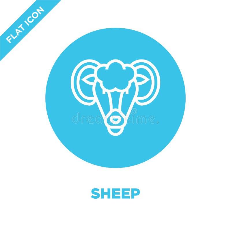 fårsymbolsvektor från djur huvudsamling Tunn linje illustration för vektor för fåröversiktssymbol Linjärt symbol för bruk på reng stock illustrationer