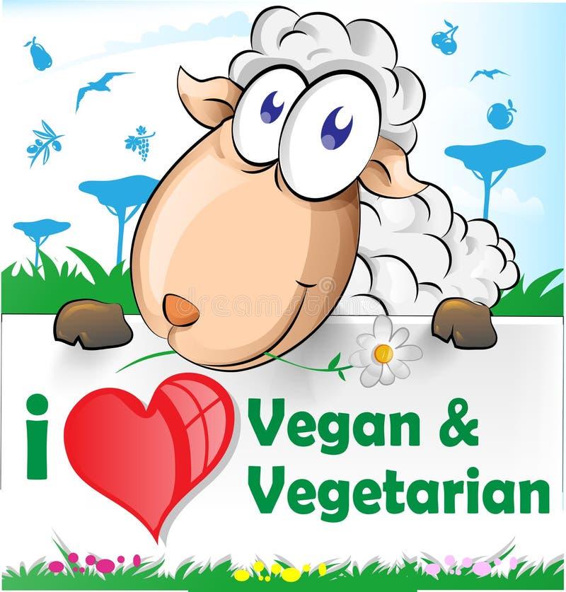 Fårtecknad film med vegetarian- och strikt vegetarianbanret vektor illustrationer