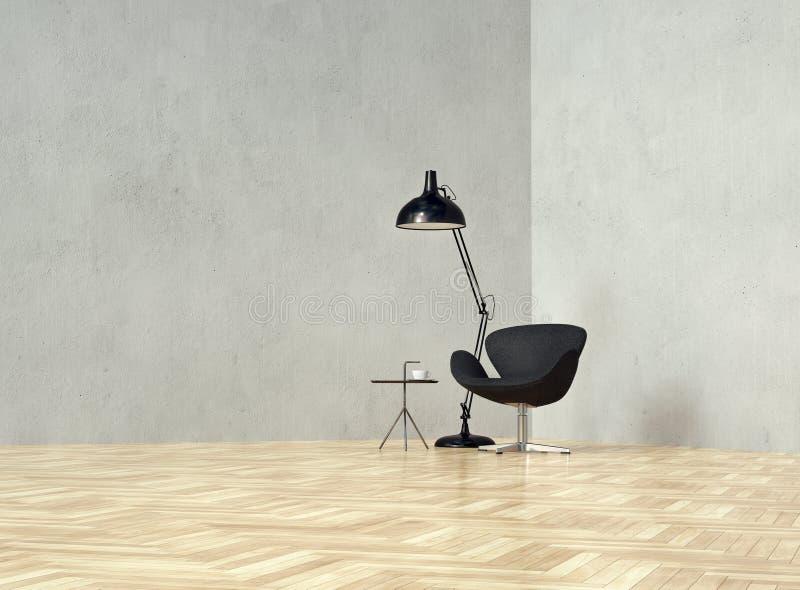 Fåtölj med den kaffetabellen och lampan på den tomma väggen i dagsljus arkivfoton