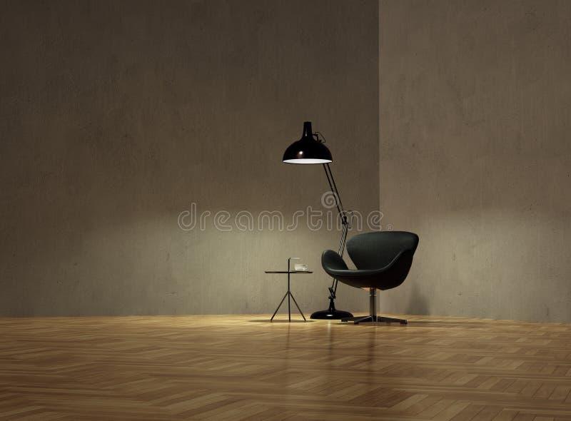 Fåtölj med den kaffetabellen och lampan på den tomma väggen i nightime royaltyfria bilder