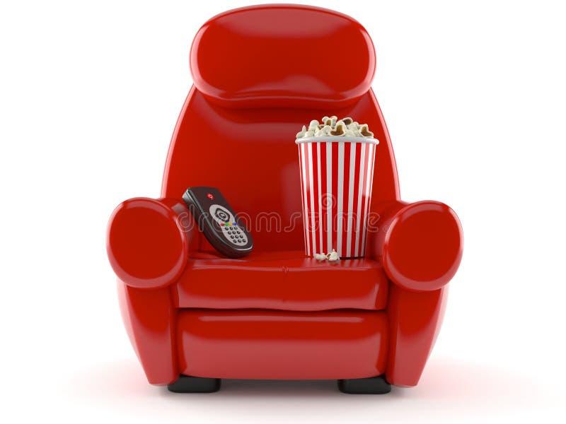 Fåtölj med popcorn och fjärrkontrollen stock illustrationer