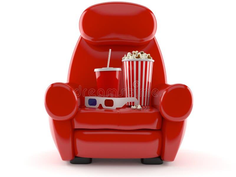 Fåtölj med popcorn och sodavatten vektor illustrationer