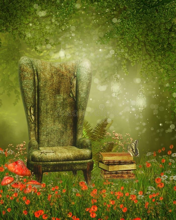 Fåtölj och böcker på en äng royaltyfri illustrationer