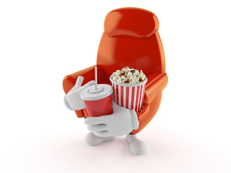 Fåtöljtecken som rymmer popcorn och sodavatten royaltyfri illustrationer