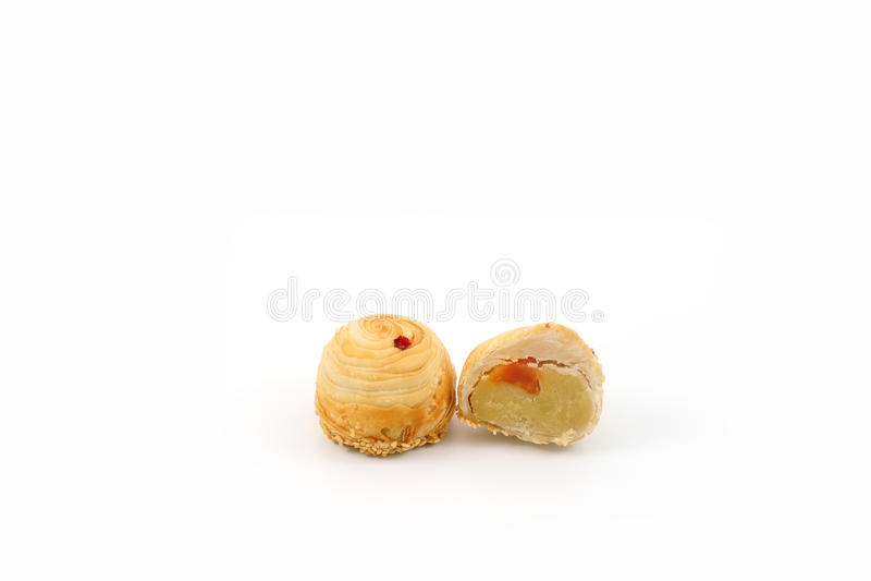 Fèves de mung chinoises de pâtisserie avec le jaune d'oeuf, photos libres de droits