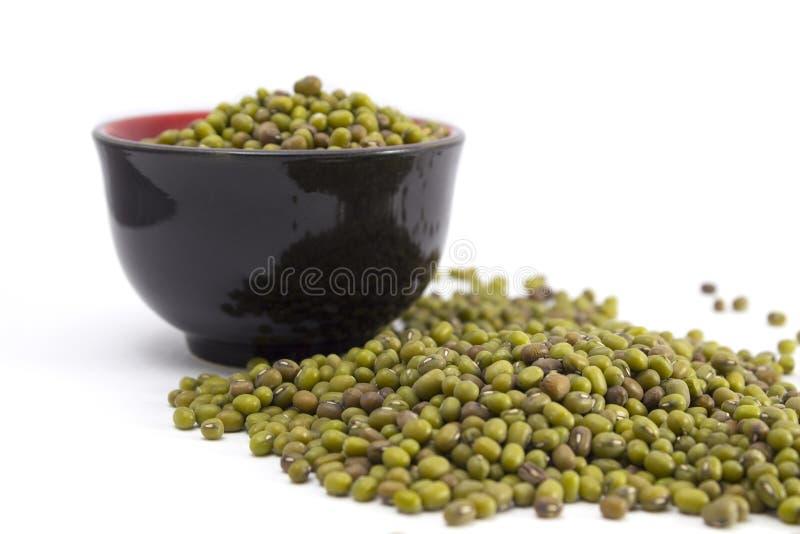 Fèves de mung vertes dans une cuvette image stock