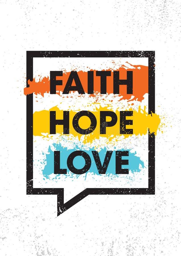 fé Esperança Amor Molde criativo inspirador do cartaz das citações da motivação Conceito de projeto da bandeira da tipografia do  ilustração stock