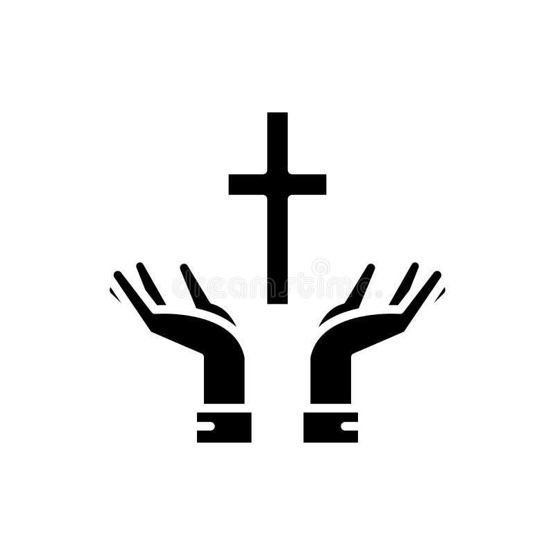 Fé no conceito do ícone do preto do deus Fé no símbolo liso do vetor do deus, sinal, ilustração ilustração do vetor