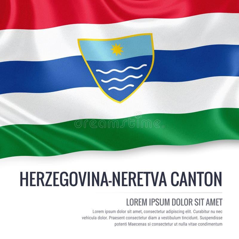 Fédération de drapeau de canton de la Herzégovine-Neretva d'état de la Bosnie-Herzégovine illustration libre de droits