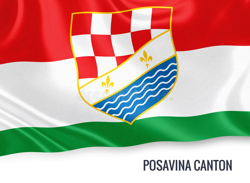 Fédération de drapeau de canton de Posavina d'état de la Bosnie-Herzégovine illustration libre de droits