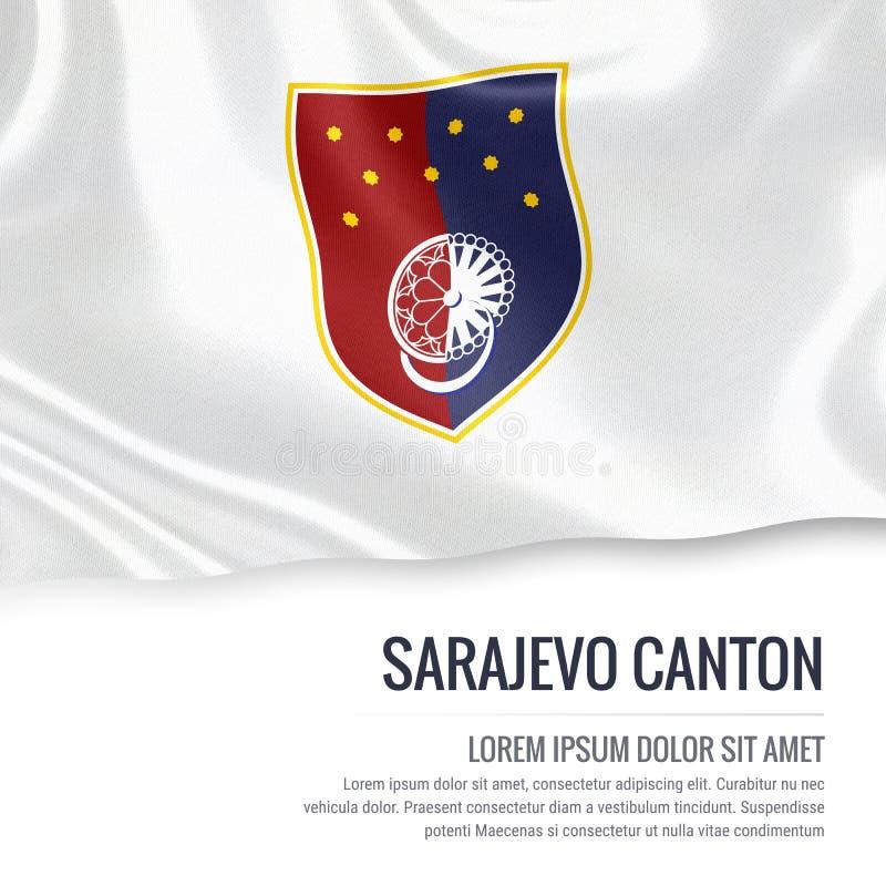 Fédération de drapeau de canton de Sarajevo d'état de la Bosnie-Herzégovine illustration de vecteur