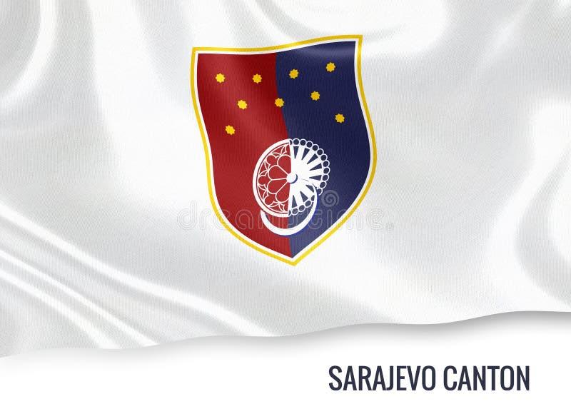 Fédération de drapeau de canton de Sarajevo d'état de la Bosnie-Herzégovine illustration stock