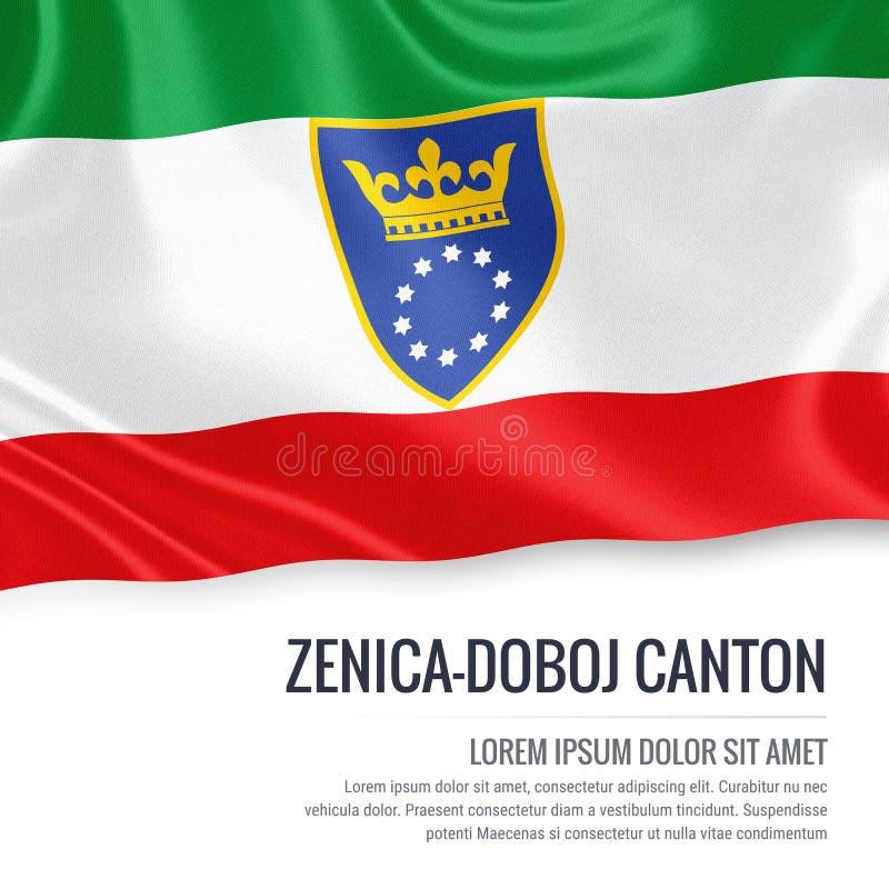 Fédération de drapeau de canton de Zenica Doboj d'état de la Bosnie-Herzégovine illustration de vecteur