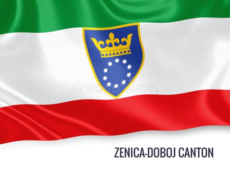 Fédération de drapeau de canton de Zenica Doboj d'état de la Bosnie-Herzégovine illustration stock