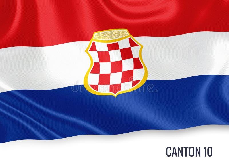 Fédération de drapeau du canton 10 d'état de la Bosnie-Herzégovine illustration stock