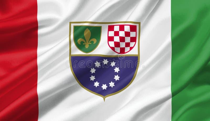 Fédération de drapeau de la Bosnie-Herzégovine ondulant avec le vent, illustration libre de droits
