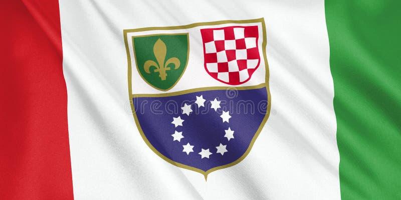 Fédération de drapeau de la Bosnie-Herzégovine ondulant avec le vent illustration de vecteur