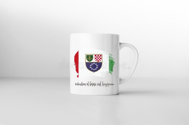 Fédération de drapeau de la Bosnie-Herzégovine sur la tasse de café blanc illustration libre de droits