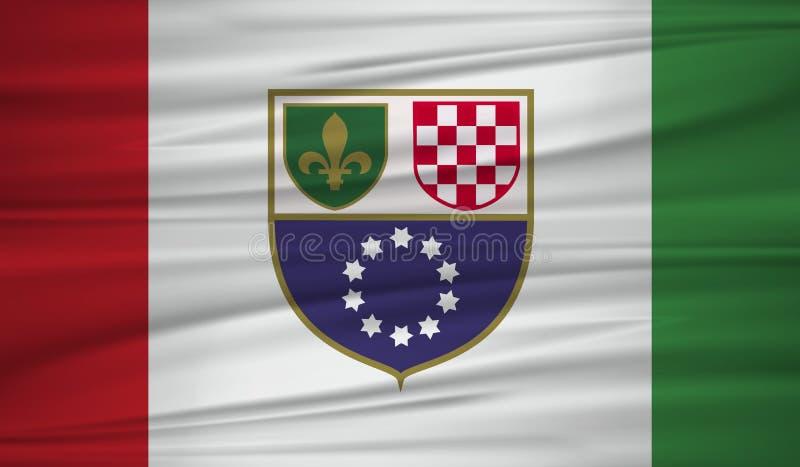 fédération de vecteur de drapeau de la Bosnie-Herzégovine Dirigez la fédération du blowig de drapeau de la Bosnie-Herzégovine dan illustration de vecteur