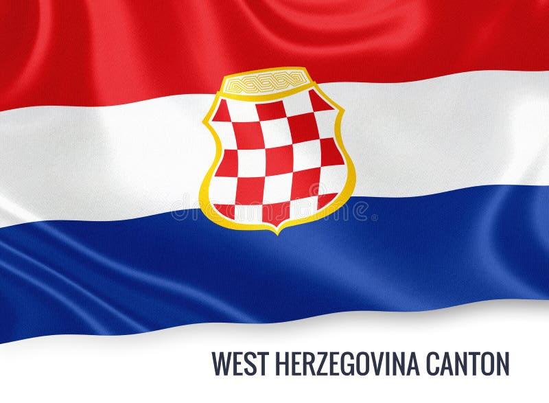 Fédération du drapeau occidental de canton de la Herzégovine d'état de la Bosnie-Herzégovine illustration libre de droits