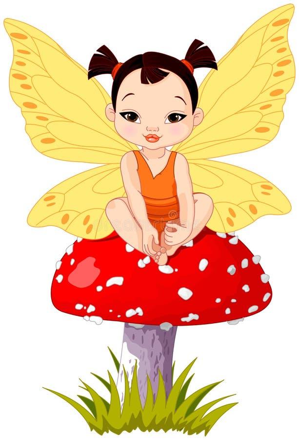 Fée asiatique mignonne de bébé sur le champignon illustration de vecteur