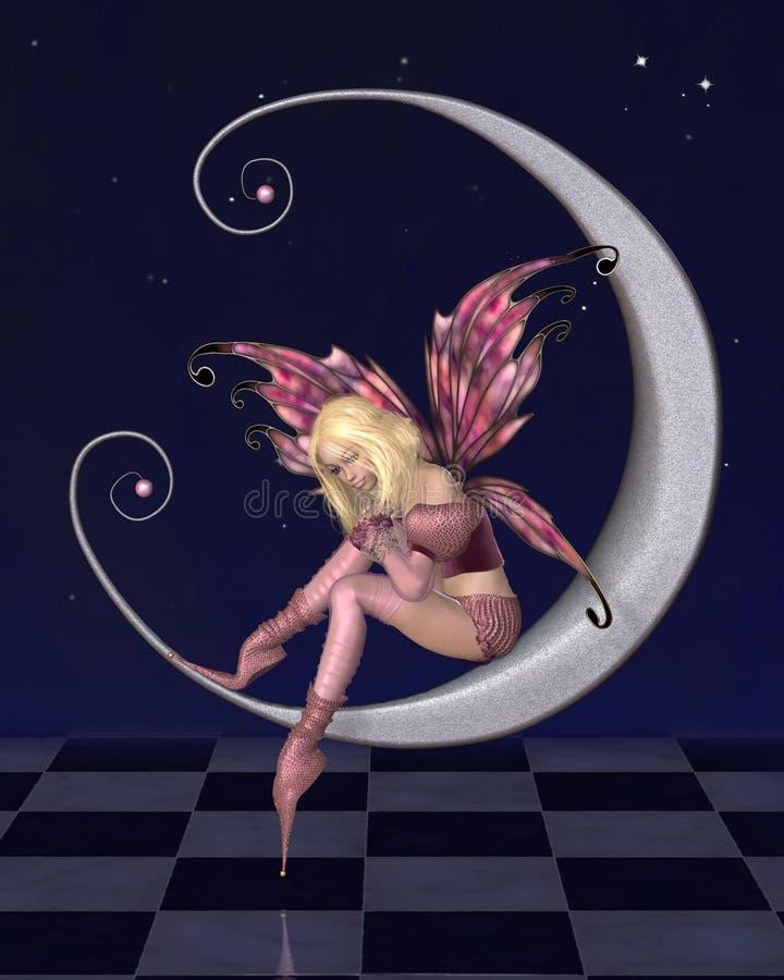 Fée assez rose de lune avec le fond étoilé de nuit illustration de vecteur