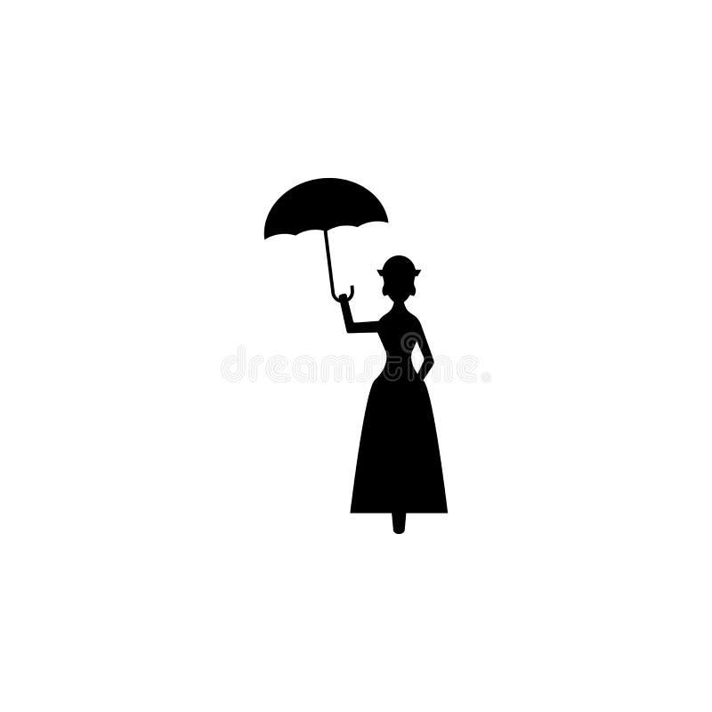 fée avec la silhouette de parapluie Élément d'illustration de héros de conte de fées Icône de la meilleure qualité de conception  illustration stock