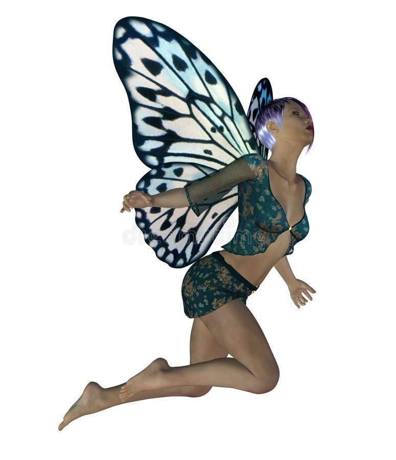 Fée avec les ailes bleues illustration de vecteur