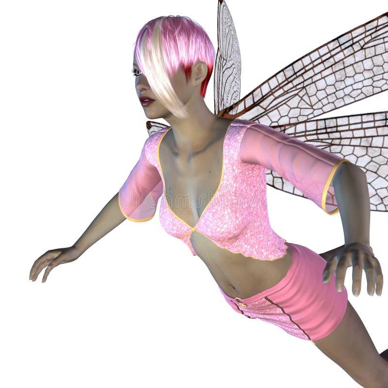 Fée avec les ailes roses de libellule illustration libre de droits
