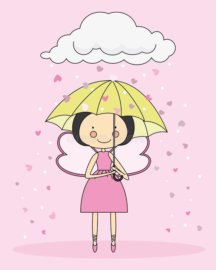 Fée avec un parapluie illustration de vecteur