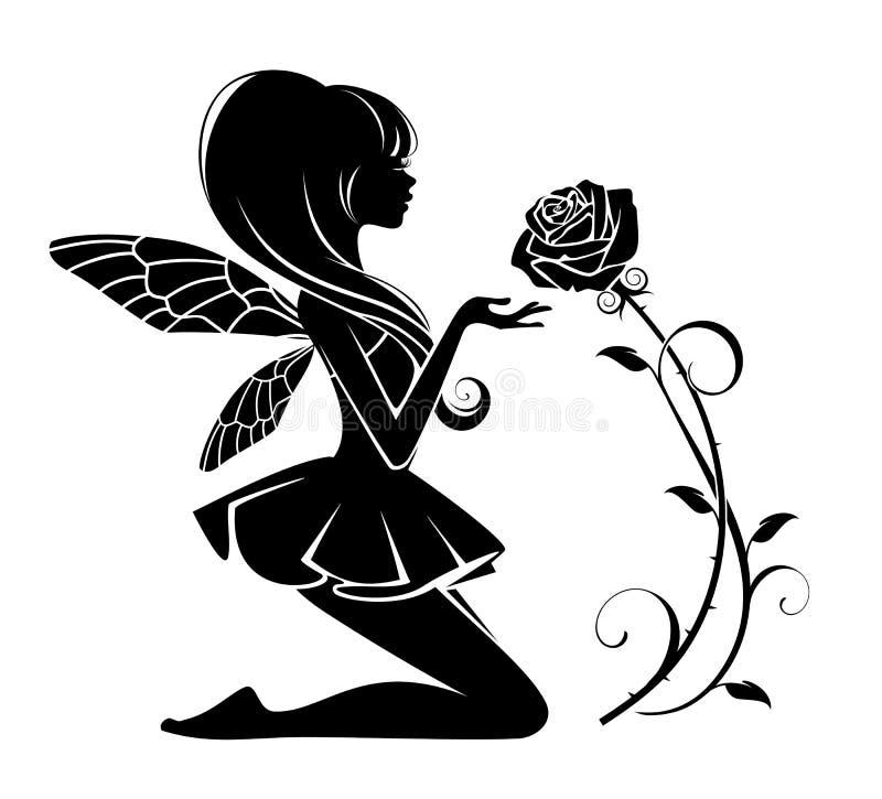 Fée avec une fleur illustration de vecteur