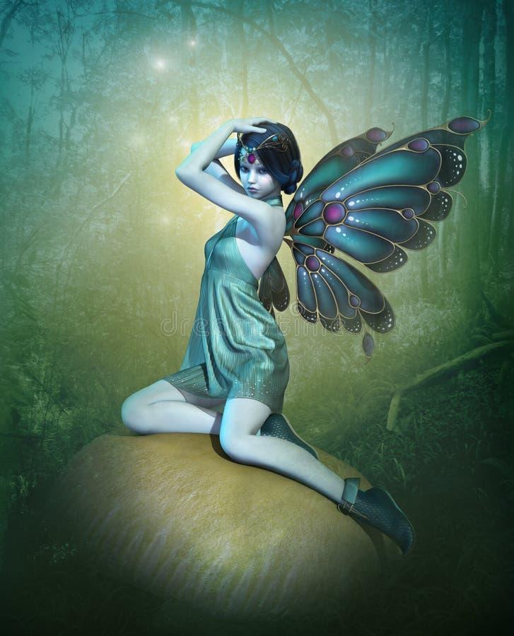 Fée bleue, 3d CG. illustration stock