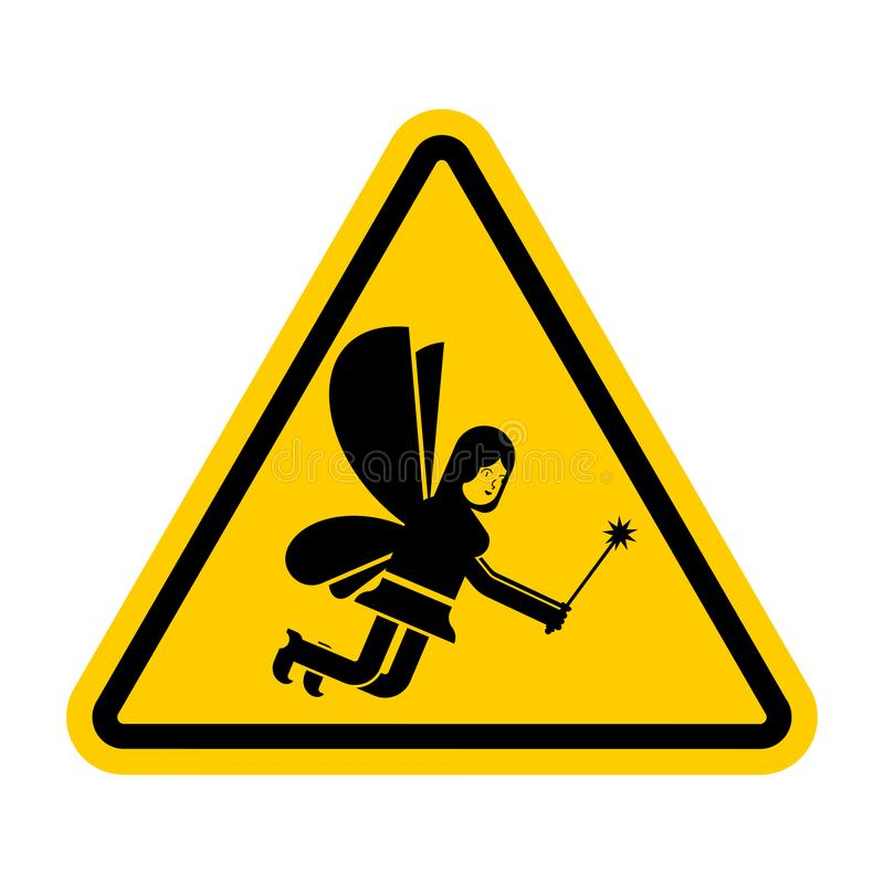 Fée d'attention Petite femme magique de précaution Panneau routier jaune illustration de vecteur