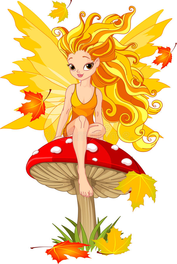 Fée d'automne sur le champignon de couche illustration libre de droits