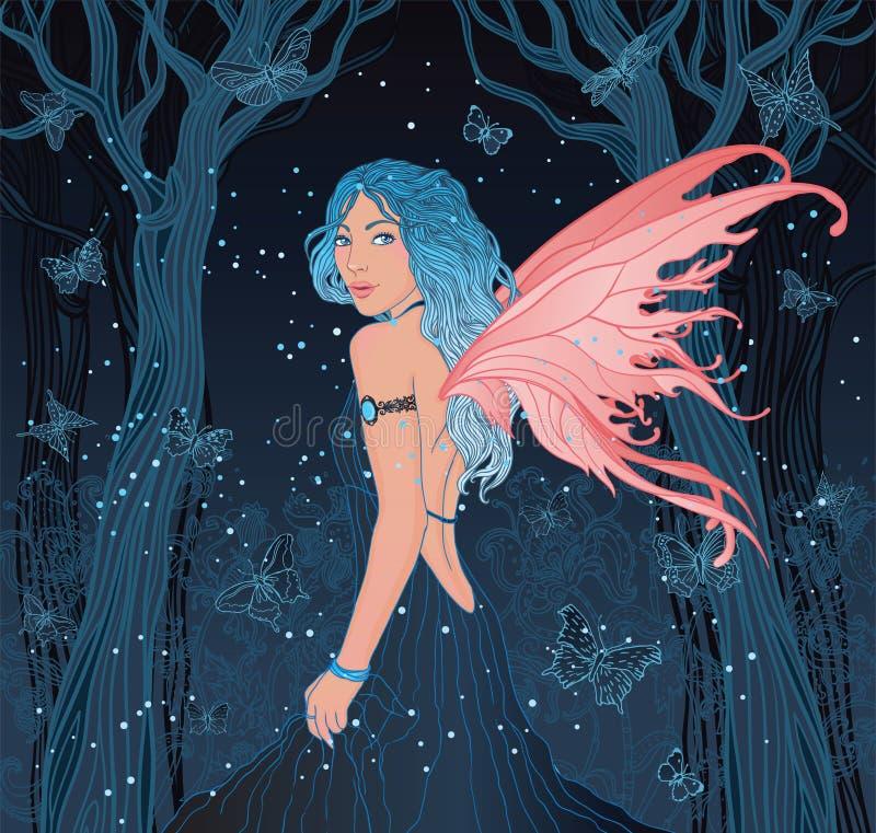 Fée dans la forêt de nuit avec des guindineaux autour illustration stock