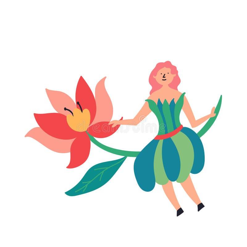 Fée de caractère de conte de fées s'asseyant sur un brin de fleur illustration stock