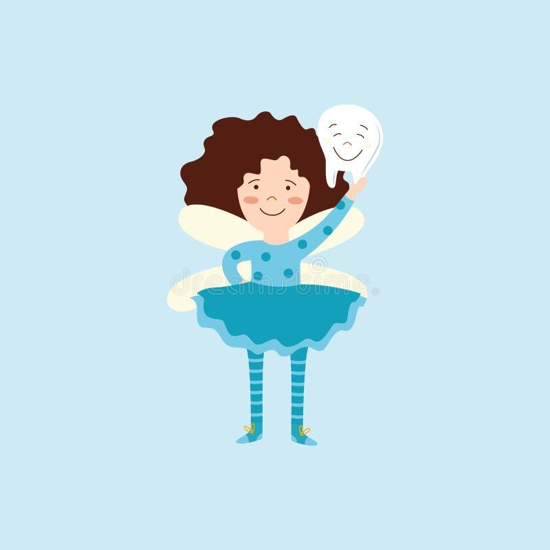 Fée de dent d'enfant tenant une dent de sourire illustration libre de droits
