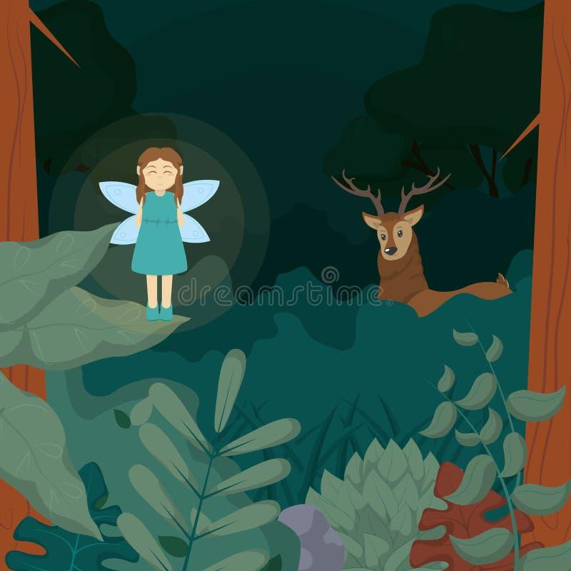 Fée de forêt avec des cerfs communs illustration de vecteur