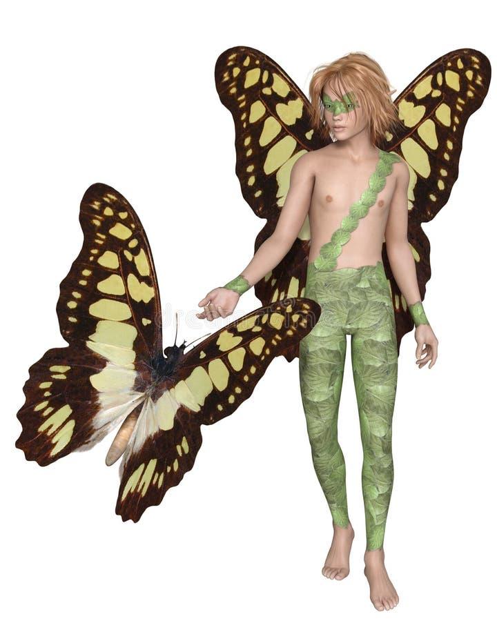 Fée de papillon de machaon et papillon masculins illustration libre de droits