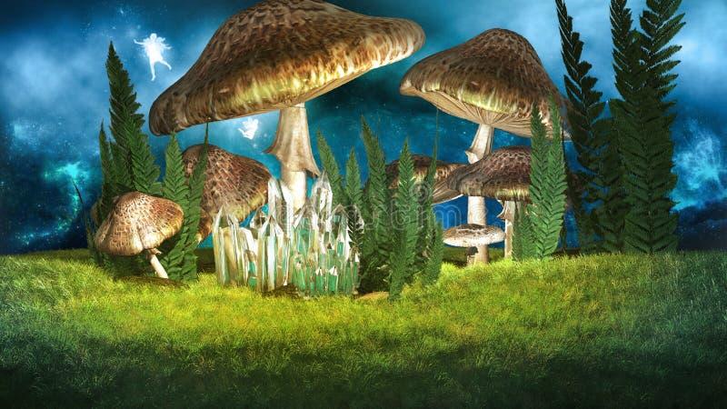 Fée et champignons illustration libre de droits