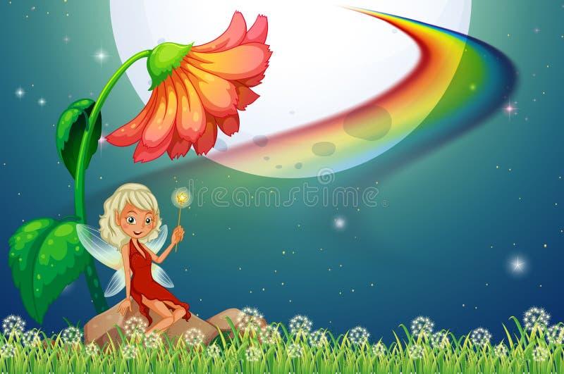 Fée et fleur illustration de vecteur
