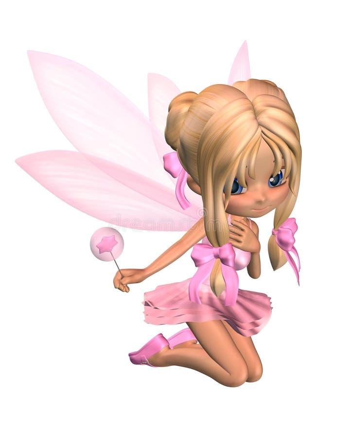 Fée mignonne de ballerine de Toon dans le rose - se mettant à genoux illustration stock