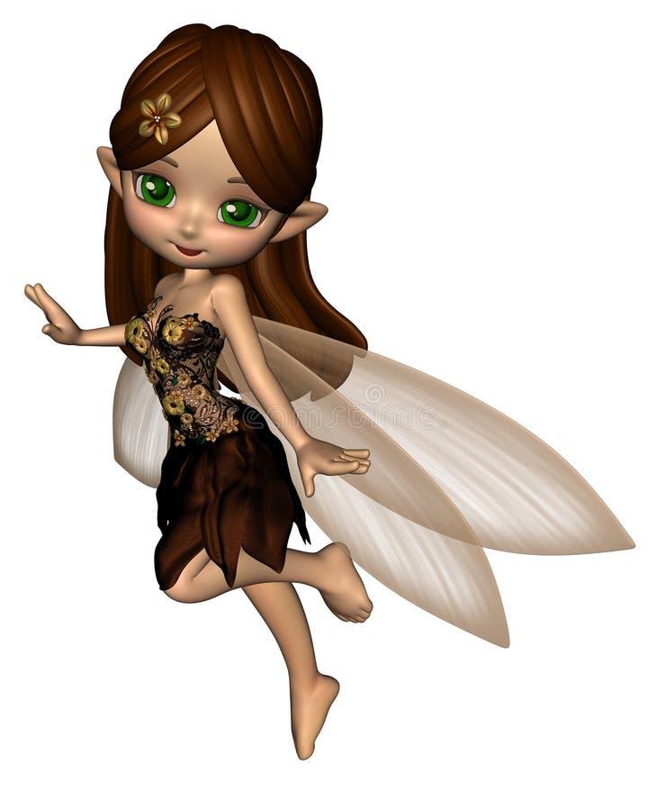Fée mignonne de Toon dans la robe de fleur de Brown et d'or illustration stock