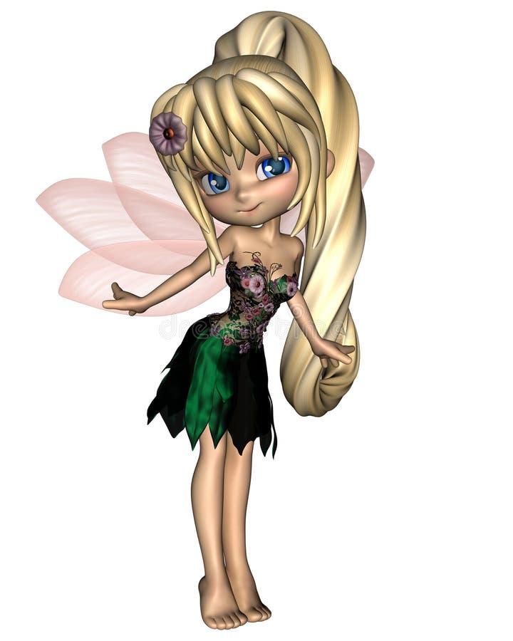 Fée mignonne de Toon dans la robe verte et pourprée de fleur illustration libre de droits
