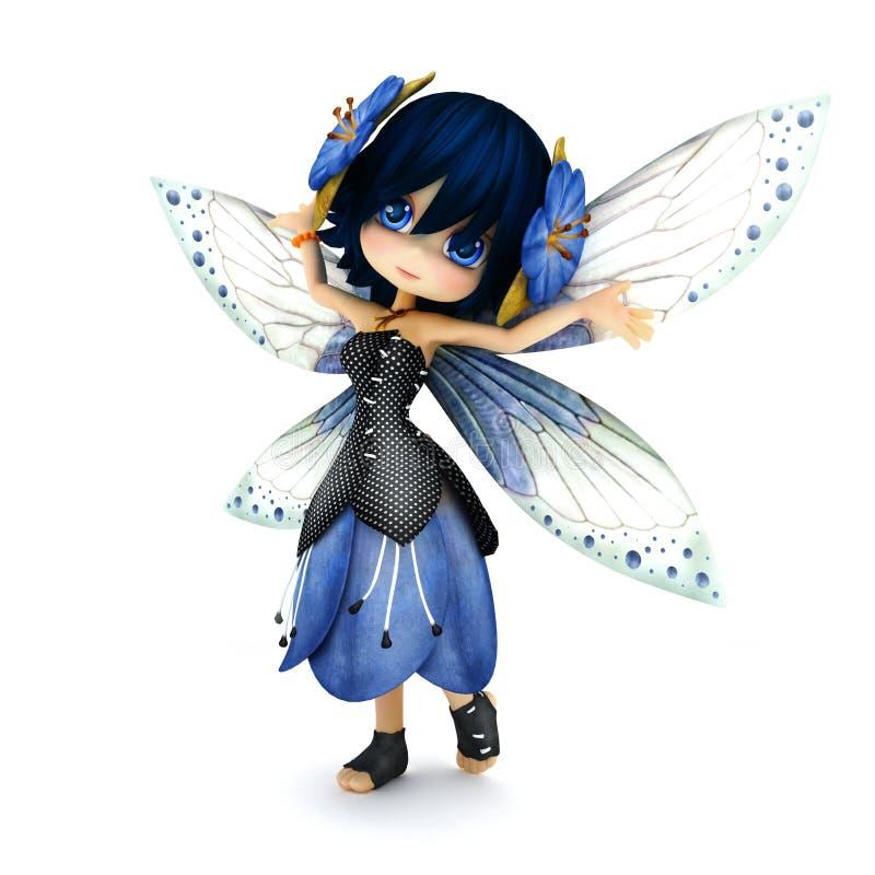 Fée mignonne de Toon portant la robe bleue de fleur avec des fleurs dans ses cheveux posant sur un fond blanc illustration libre de droits