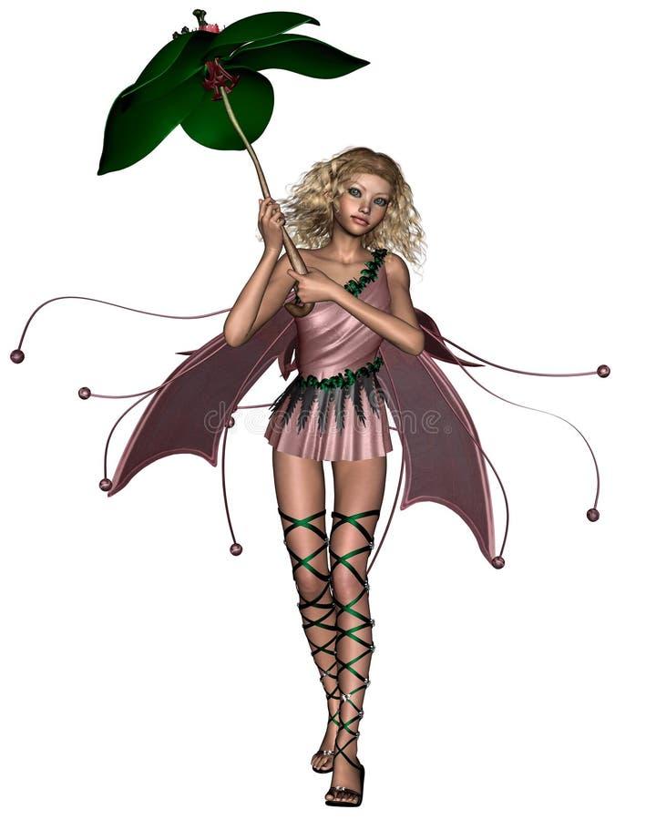 Fée rose de parapluie illustration de vecteur