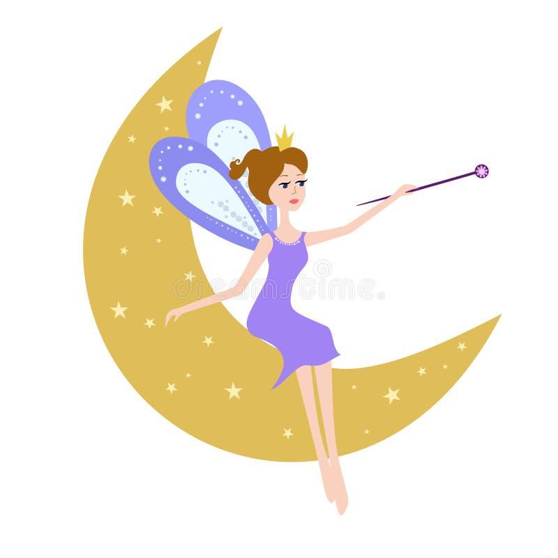 Fée s'asseyant sur la lune illustration libre de droits