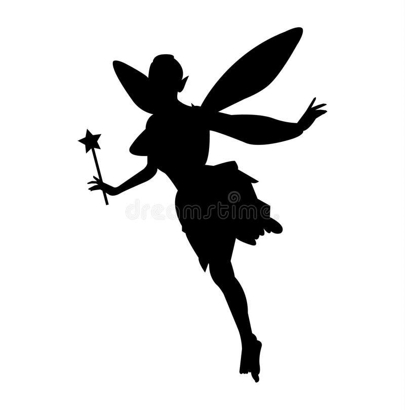 Fée simple et plate avec une silhouette magique de baguette magique illustration stock