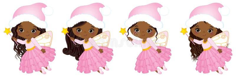 Fées mignonnes de Noël de vecteur petites avec voler magique de baguettes magiques illustration de vecteur